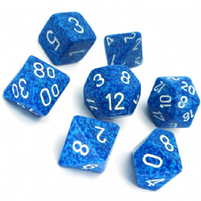 Blue & White 'Water' Speckled Polyhedral 7 Dice Set